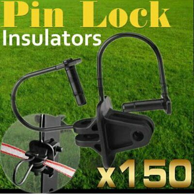 150 Electric Fence Insulator Pinlock Pin Lock Insulators Steel Post @Q