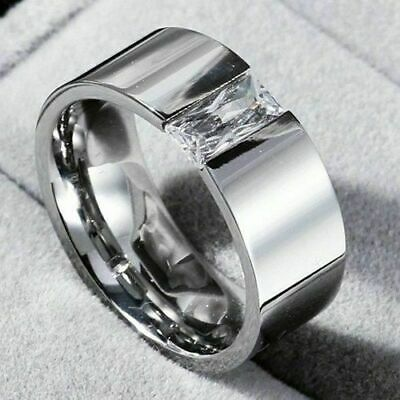 Steel Smooth Women's Silver CZ 316L Ring Stainless 8mm Size 6-12 Single Men Band