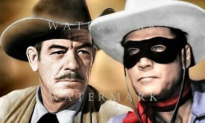 CLAYTON MOORE - Digital Oil Painting 8x10 THE LONE RANGER & BUTCH CAVENDISH
