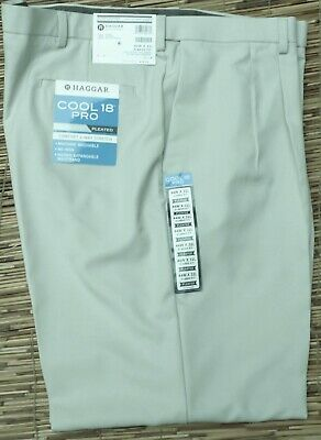0d14fba3ba Haggar Cool18 Pro Gabardine Men String No Iron Classic Fit Pleated Pants  List$70