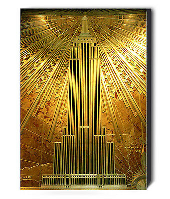 EMPIRE STATE BUILDING ART DECO GOLD Canvas Wall Art Framed Print - Various sizes