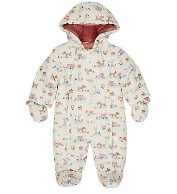 John Lewis Newborn Baby Girl Pramsuit Leckford Print Snowsuit All In One NEW