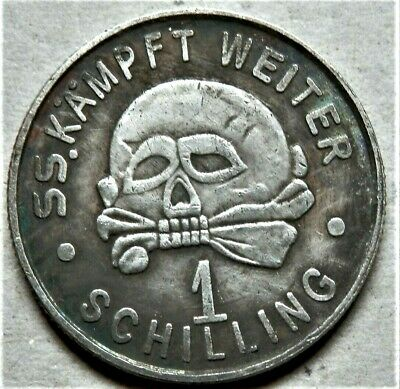 1940 Ww2 German Collectors Coin Ss Kampft Weiter 1 Schilling Kantinegeld
