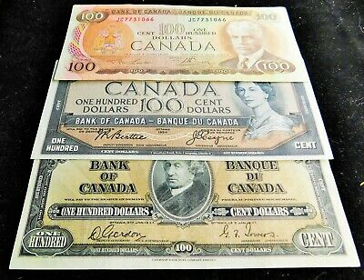 THREE $100.00 (one hundred) CANADIAN DOLLAR BANK NOTES - 1937 -1954 - 1975
