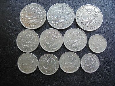 Malta, 11 Coins all 1986, Lira to 5 cents as shown.