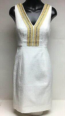 b570a23550de5b NWT Lilly Pulitzer Women's Dress US 00 Eliot Shift Resort White w/ Gold  Beading