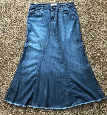 b556dee8e Women's Maurices Long Modest Dark Denim Jean Maxi Mermaid Skirt 11/12
