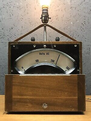 Large Vintage Volt Meter Repurposed Into A Great Lamp - PAT Tested