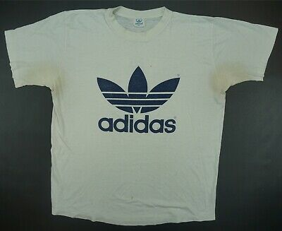 f78716c0136cb TRUE VINTAGE ADIDAS BIG LOGO Trefoil LS Single Stitch T Shirt L 80s ...