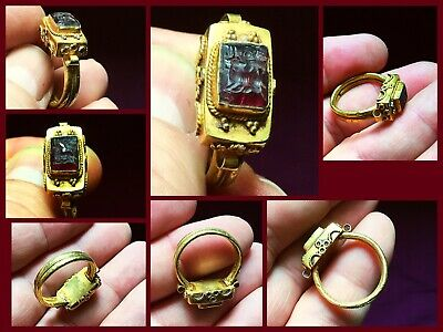 RARE ANCIENT SOLID GOLD ROMAN RING c 1st /3rd Cent AD. With Carnelian intaglio