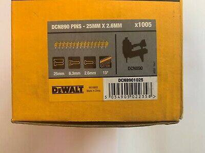 Dewalt Dcn8901025 25Mm X 2.6Mm New Box Of 1005 Collated Pins.