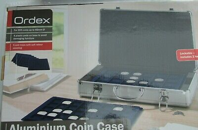 ORDEX Aluminium Coin Storage Case, 5 Coin Trays for 205 Coins up to 45mm