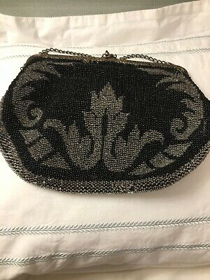 Vintage 1920's Black/ Silver Beaded Clutch Bag With Lovely Clasp, Chain Handle