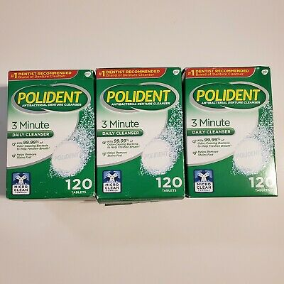 3 Boxes Polident 3 Minute Antibacterial Daily Denture Cleanser 120 Tablets ea