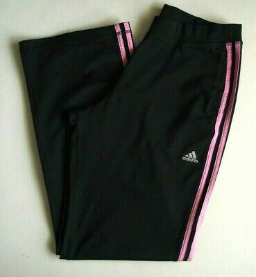 a06e7aeca77 Adidas Womens Athletic Pants Relaxed Wide Leg Black Pink Stripe Logo Size L