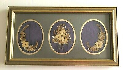 Vintage Dried Pressed Flowers In Gold Wood Frame 3 Scenes By Carr