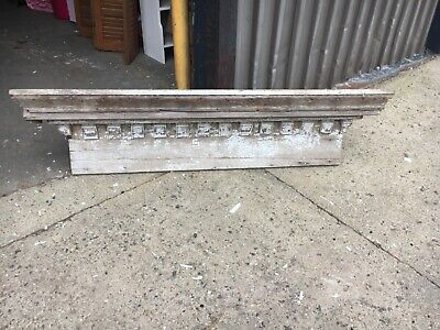 "c1850 window header pediment dentil molding detail 63.5 x 14"" x 8.5"" worn patina"