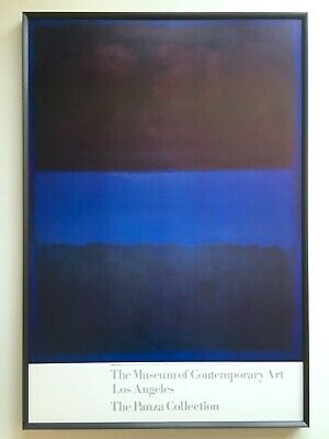 "Mark Rothko Rare 1988 Litho Print Lrg Framed Museum Poster ""Brown On Blue"" 1953"