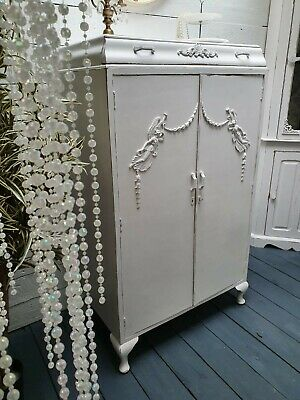 French Style Vintage Painted Tallboy Linen Cupboard Pretty Interior Shabby Chic
