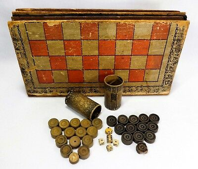 Vint 'Hist Of China' Checker/Backgammon Faux Book Game Board, W/Wood Chips/Dice