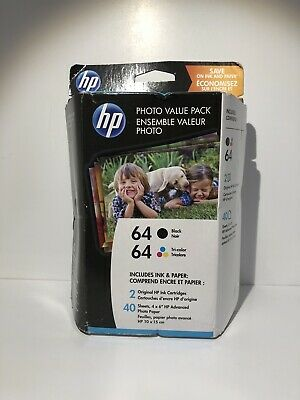 HP 64 Black Tricolor Photo Value Pack Ink Cartridges 40 Sheets 4x6  Exp 6/2020