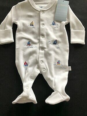 JoJo Maman Bebe NWT White Cotton Embroidered Sailboats Footie-Newborn