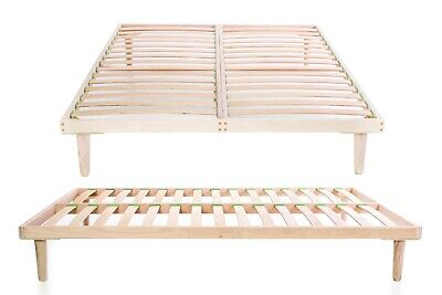 Wooden Euro King Size 160 x 200 cm Bed Frame Beech Wood Slatted Orthopaedic Base