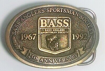 Vintage 1992. B.A.S.S. Bass Anglers Sportsman Society. Buckle. 25th Anniversary.