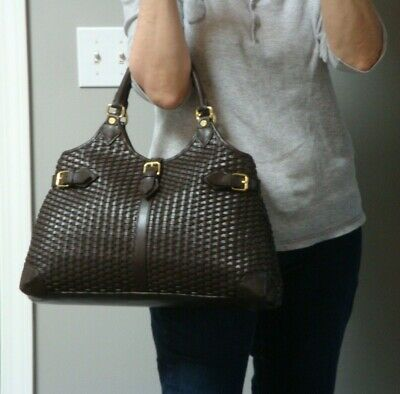 619b6a9ea5 BROOKS BROTHERS Handbag Dark Brown Woven Leather Satchel Tote Large Purse  Should