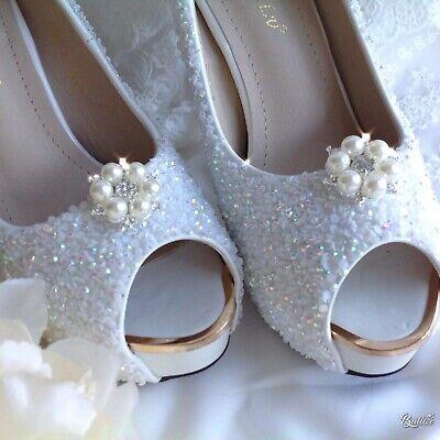Rhinestone and pearl silver tone shoe clips embellishment pageant bride wedding