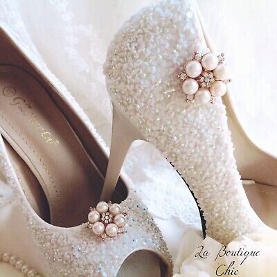 Rhinestone and Pearl gold tone shoe clips pageant bride wedding bridal party