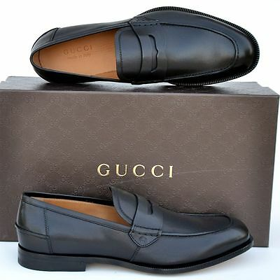 GUCCI New sz UK 11.5  US 12.5 Designer GG Mens Leather Dress Loafers Shoes black