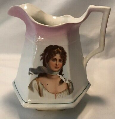 Rare Queen Louise Of Prussia-Colonial Sterling China Pitcher-Patented 1915