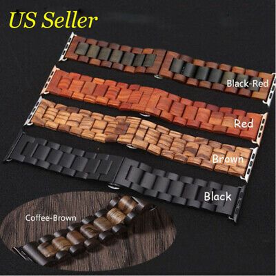 Wood Watch Band Strap Fr Apple Watch Series 2 3 4 38/42/40/44mm Wooden Wristband