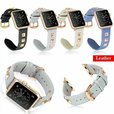 Wristwatch Punk Rivets For Apple Watch Series 4321 Band Watch Strap Real Leather