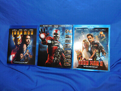 Iron Man Trilogy 1 2 3 Complete Blu-ray Lot Collection Official US Release