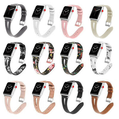 Lady Slim iWatch Strap Watch Band Floral Leather For Apple Watch Series 4/3/2/1