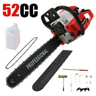 "52cc Petrol Chainsaw 3.1HP 20"" Bar Easy Start+Chain Bag Cover&Bottle Accessories"