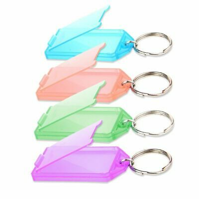 20Pcs Tough Plastic Key Tags with Split Ring Label Window Card Key Chains Blank