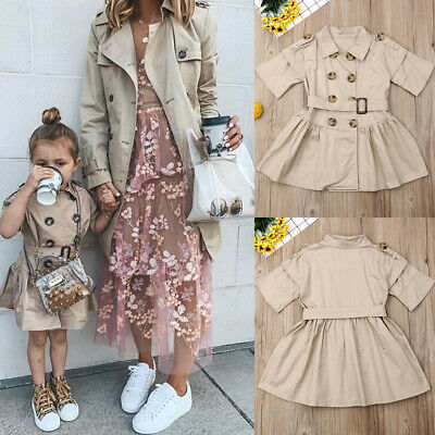 Girls Kids Short Sleeve Casual Dress Jacket Trench Coat Outerwear Fashion 2-7Y