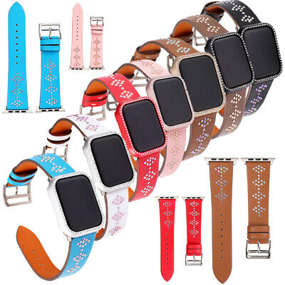 Women's Bling Genuine Leather Watch Band Wrist Strap for Apple Watch Series 4321