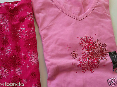 La Vie en Rose 2-Piece Pink Snowflake Winter Cotton Pajamas Sz M