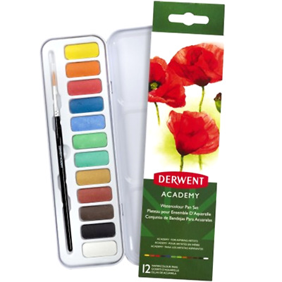 NEW IN TIN 12x Derwent Academy Watercolour Pan Paint Set + Brush Student 2301955