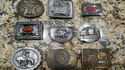 Lot Of 8 Vintage Belt Buckles Unisex Various Sizes And Brands