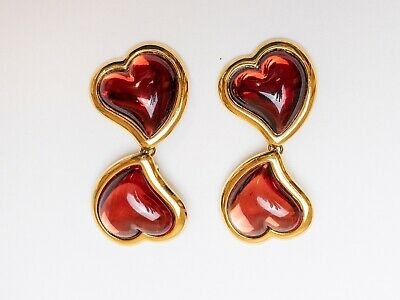 45ca7f42365 Authentic Ysl Yves Saint Laurent Rive Gauche Red Heart Earrings France  Vintage