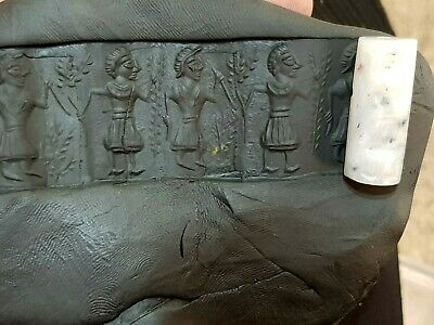 Superb Intact Rare Ancient Near Eastern Cylinder Seal 300 Bc 8,8 Gr.32 Mm