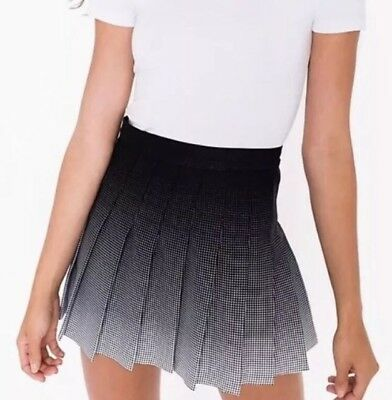 0bd7417c32 Authentic American Apparel Black White Ombre Gradient Pleated Tennis Skirt  XS