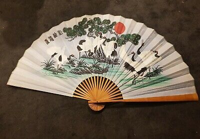 Large antique vintage Chinese wall fans