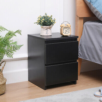 Modern Bedside Table Cabinet with 2 Drawers Nightstand Bedroom Furniture Black