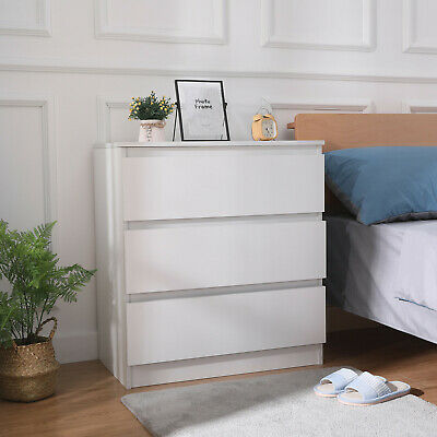 Modern Bedside Table Cabinet with 3 Drawers Nightstand Bedroom Furniture White
